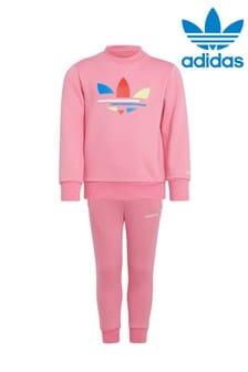 adidas Originals Pink Little Kids Adicolour Crew Set
