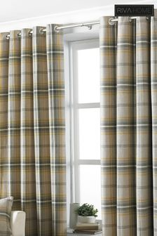 Aviemore Plaid Check Eyelet Curtains by Riva Home