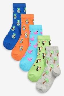 5 Pack Cotton Rich Summer Conversational Socks (Older)
