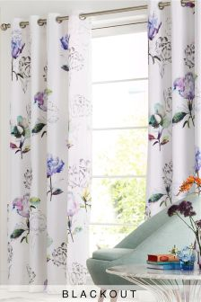 Cotton Sateen Digital Floral Blackout Lined Eyelet Curtains