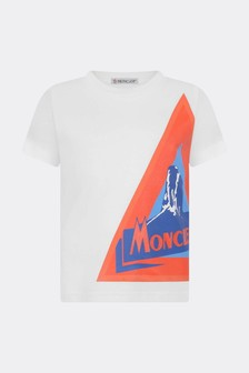 Moncler Enfant Boys White Cotton Logo T-Shirt