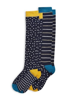 Stripe/Spot Knee High Welly Socks Two Pack