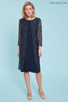 Gina Bacconi Blue Dailyn Crepe And Lace Dress