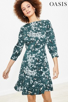 Oasis Green Bird Blossom Skater Dress