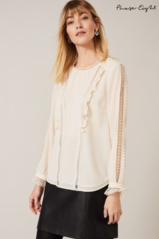 Phase Eight Cream Lauren Lace Insert Blouse