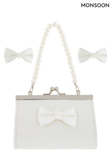 Monsoon Lara Lace Bow Mini Bag & Clips Set