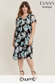 Evans Curve Teal Blue Floral Print Split Front Dress