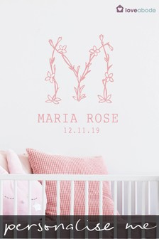 Personalised New Baby Name Wall Sticker by Loveabode