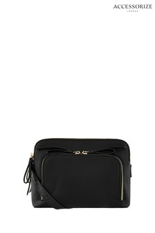 Accessorize Black Taylor Double Zip Cross Body Bag