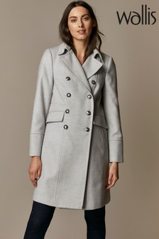 Wallis Grey Faux Wool Military Coat