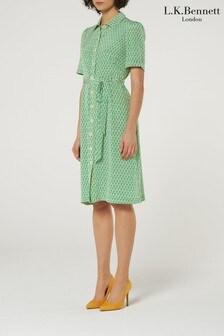 L.K.Bennett Green Irenie Silk Shirt Dress