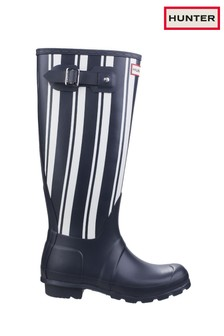 Hunter Blue Original Garden Stripe Tall Wellington Boots