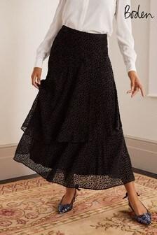 Boden Black Elizabeth Wrap Skirt