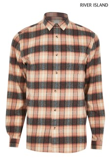 River Island Pink Medium Washed Pink Check Shirt