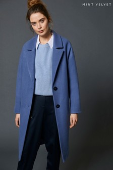 Mint Velvet Blue Boyfriend Coat