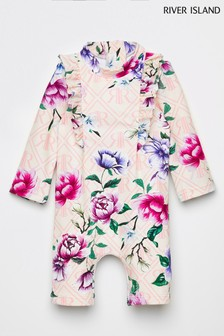 River Island Pink Light Floral Print All-In-One