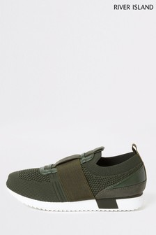 River Island Khaki Cone Strap Knitted Runner Trainers