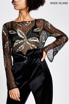 River Island Black Tropicana Sequin Top