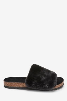 Cork Faux Fur Sliders