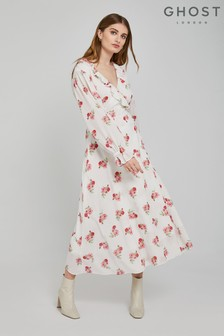 Ghost London White Elize Palm Spring Ditsy Print Crepe Dress