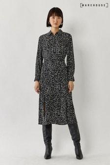 Warehouse Black Dash Wave Midi Shirt Dress