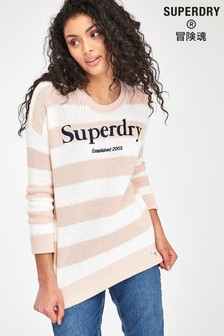 Superdry Peach Stripe Logo Knit Jumper