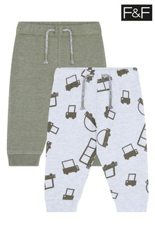 F&F Multi Grey Car Joggers Two Pack