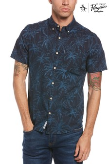 Original Penguin Blue Short Sleeve Indigo Floral Shirt