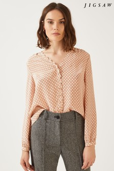 Jigsaw Orange Grid Daisy Buttoned Top