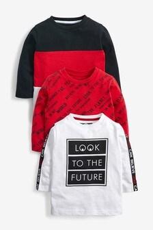 3 Pack Slogan Long Sleeve T- Shirts (3mths-7yrs)