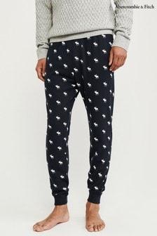 Pantalones de pijama azul marino con diseño de alce de Abercrombie & Fitch