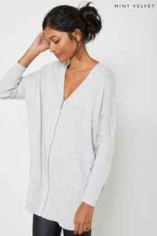 Mint Velvet Grey Zip Front Long Jumper