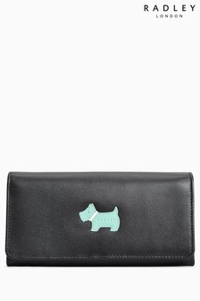 Radley Black Heritage Dog Large Flapover Matinee Purse