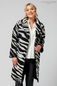 Live Unlimited Black Zebra Printed Coat