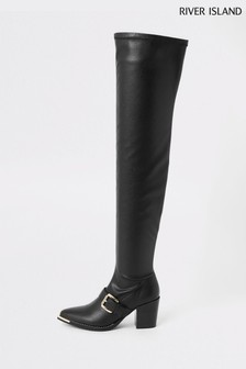 River Island Black Over The Knee Western Boots