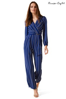 Phase Eight Blue Clara Stripe Jumpsuit