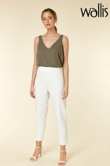 Wallis White Petite Tailored Fit Trouser