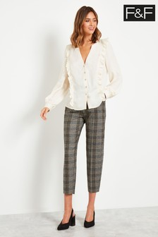 F&F Neutral Herringbone Check Tapered Trousers