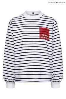 Tommy Hilfiger White Savannah Striped Sweatshirt