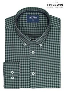 T.M. Lewin Slim Fit Green/Grey Gingham Single Cuff Shirt