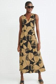 Sleeveless Belted Midi Dress