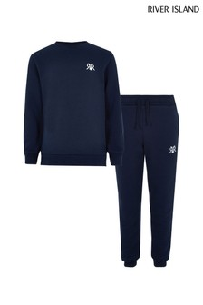 River Island Navy Maison Epp Top And Jogger Set