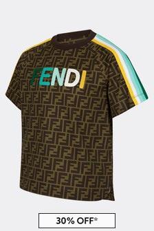 Fendi Kids Kids Brown Cotton T-Shirt