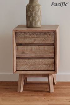 Pacific Lifestyle Sand Wash Acacia Wood 3 Drawer Bedside Unit