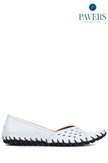 Pavers White Leather Ladies Slip-On Shoes