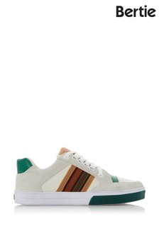 Bertie Ennfield White Leather Striped Detail Lace-Up Trainers
