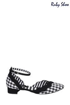 Ruby Shoo Black Lydia Almond Toe Buckle Ankle Strap Sandals
