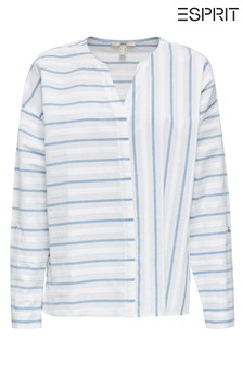 Esprit White Long Sleeve Blouse With Stripes In Opposite Directions