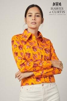 قميص Autumn Bouquet تفصيلة ضيقة برتقالي من Hawes & Curtis
