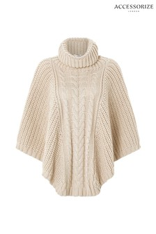 Accessorize Nude Chunky Cable Poncho